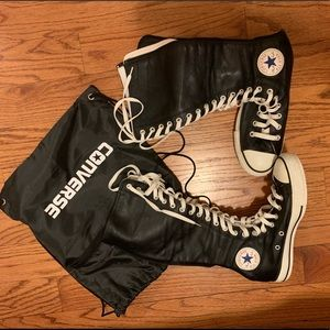 Black Leather All Star Knee High converse sneakers